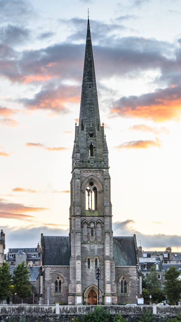 Exterior photo of iconic spire at St Matthew's Church, Tay Street, Perth